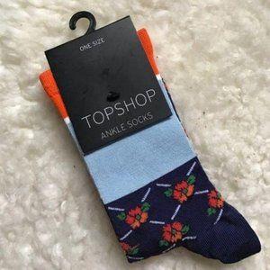 Topshop Colorblock Floral Stripe Socks